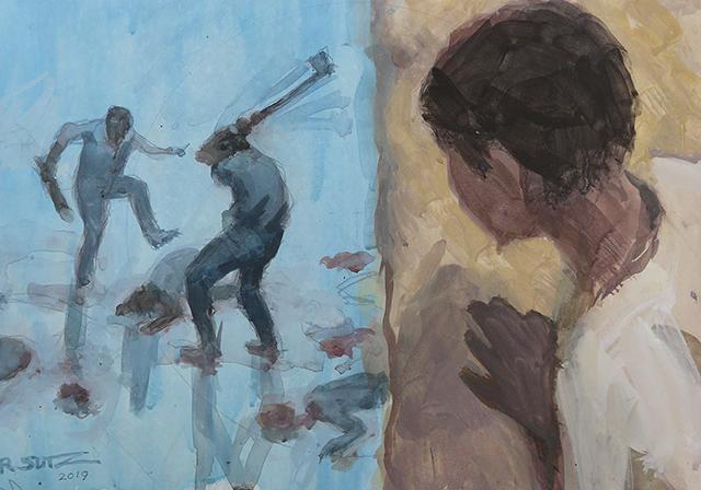 Painting by Robert Sutz depicting the genocidal killings in Rwanda